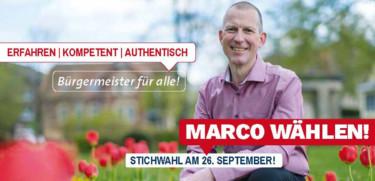 """Bild von Marco Guss und der Text """"Am 26.9. Marco wählen"""""""