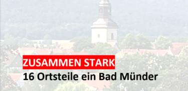 Verwaschenes Bild der Kirche Bad Münder und der Slogan der SPD