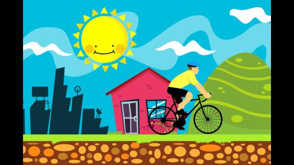 Zeichnung eines Fahrradfahrers vor einer Stadtsilhouette mit strahlender Sonne